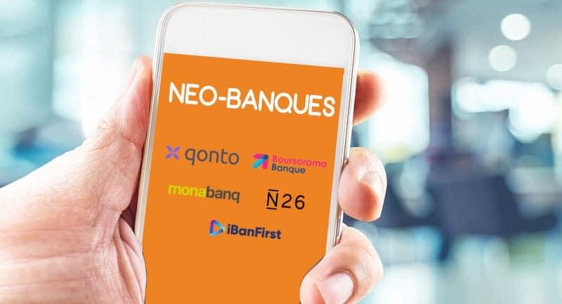 neo banques sur smatphone logos