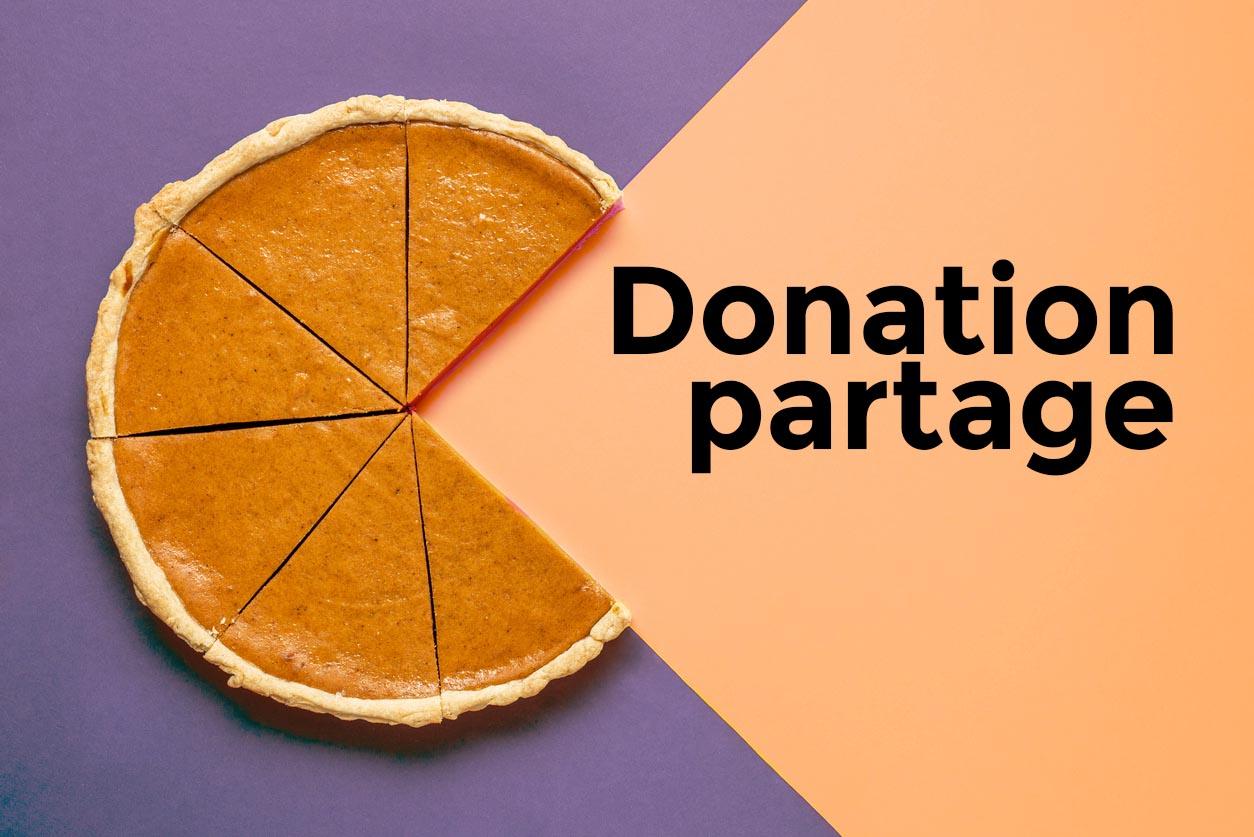 part de gateau illustrant donation partage