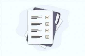 Documents Folder With Paper Sheets. Flat Illustration Of Folder With Checklist Icon For Web. Contract Papers. Document. Folder With Stamp And Text. Contract Signing